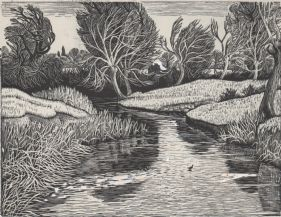 wood-engraving print: Winter Morning